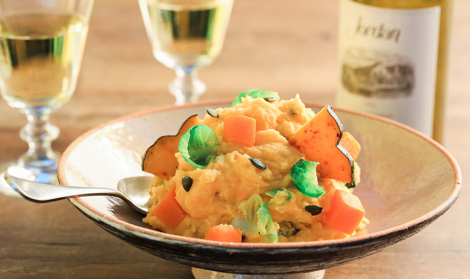 Butternut Squash Mashed Potatoes with Jordan Chardonnay